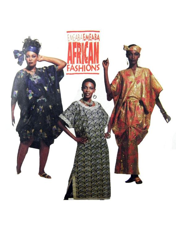 1993 McCall's 6871 Emeaba Emeaba African Fashions Misses' Caftans and Tunic, Partially Cut, Vintage Sewing Pattern Most Sizes Included