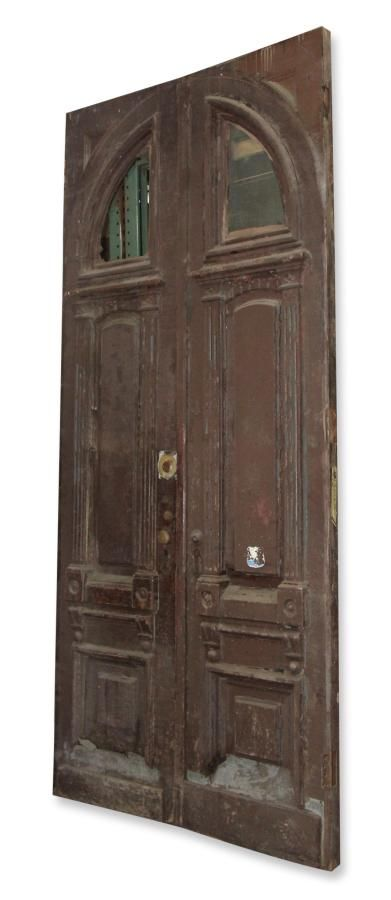 Brownstone Entry Doors With Arched Window: Architectural Salvage Online  Store, Buy Altered Antiques |