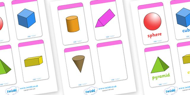Twinkl Resources >> 3D Shape Flahcards (inc. Shape Names)  >> Thousands of printable primary teaching resources for EYFS, KS1, KS2 and beyond! 3D shape names, shape flashcards, shape pictures, shape words, 3D flashcards,