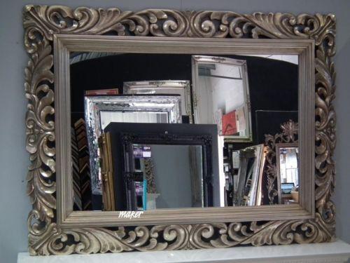 4Ft X 3Ft 122cm X 91cm Large Silver Carved Antique Design Ornate Big Wall Mirror   eBay