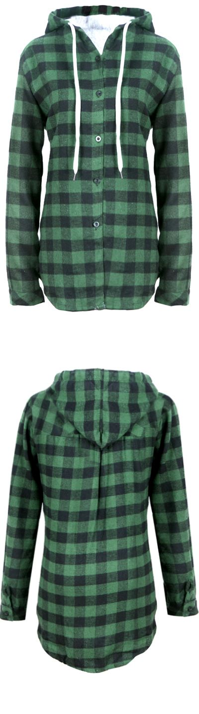 A shirt that doubles as a dress? Check. This shirt features a black, and green plaid print, front button closure, hood design.Hot Sale at FIREVOGUE.COM