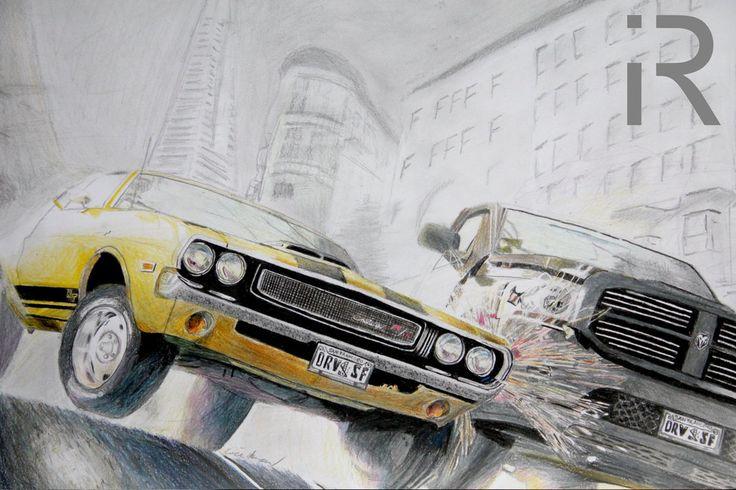 drawing a Dodge Challenger RT Dodge RAM Driver San Francisco