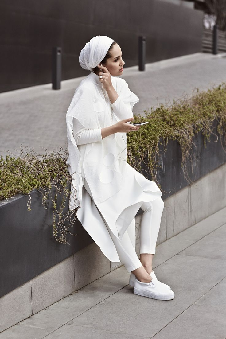 white oversized long shirt + jeans + slip-ons + turban hijab + long sleeved shirt