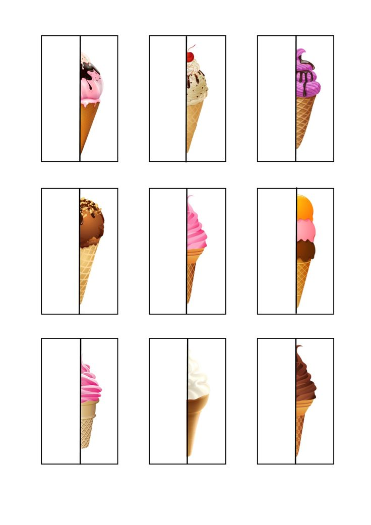 Tiles for the ice cream matching game. By Autismespektrum