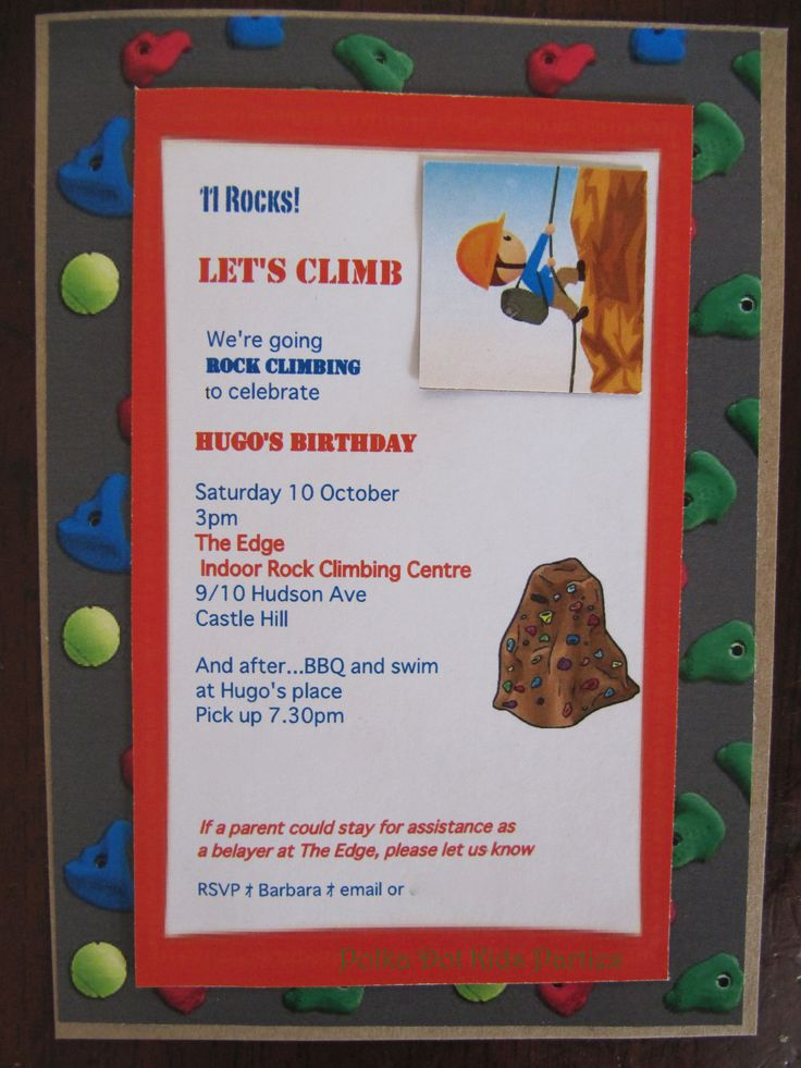 8 best Rock Climbing Party images on Pinterest | Rock climbing party ...