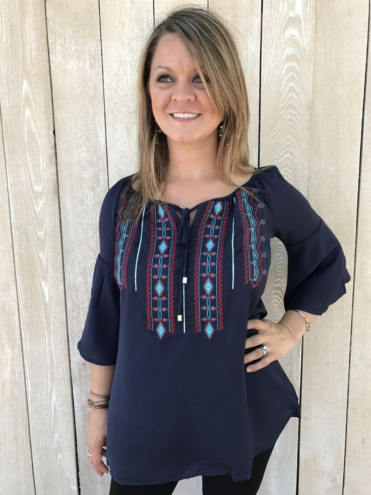 Turquoise and Maroon Embroidered Navy Blouse