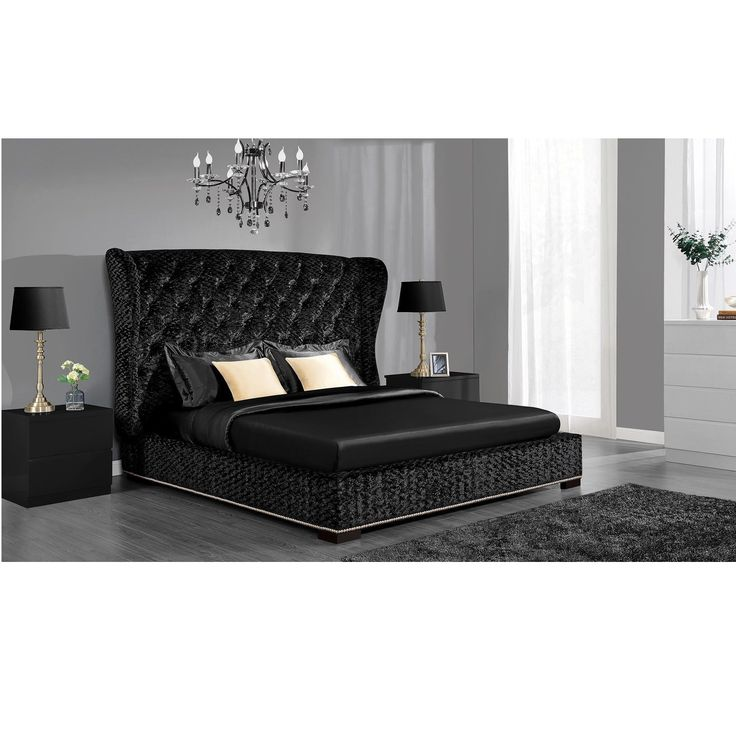 This striking Luxe bed is guaranteed to be the focal point of your room. Upholstered in rich, black velvet fabric and silver nailhead trim around the base of the bed, this Avenue Greene Luxe bed is sure to conjure up glamorous evenings.