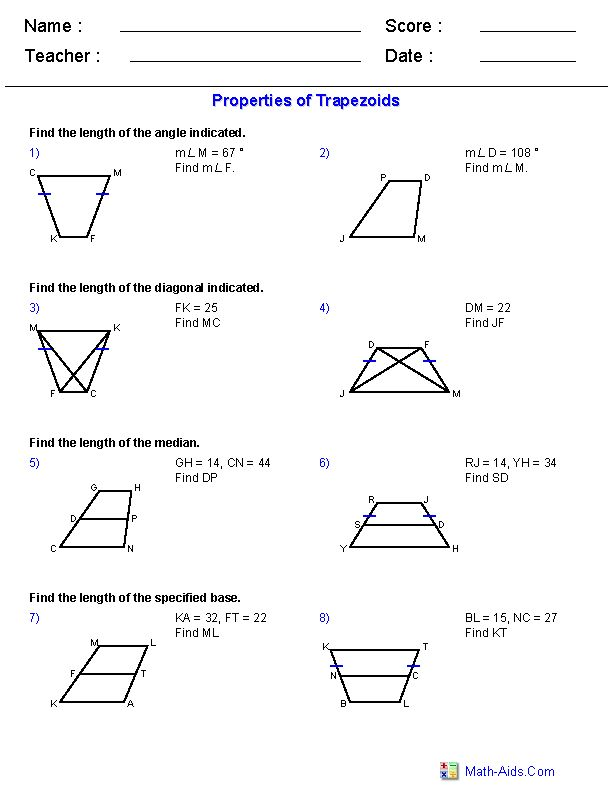 Properties Of Trapezoids Worksheets Education Geometry