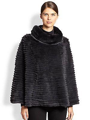 Glamourpuss Venetian Layered Rabbit Fur Poncho