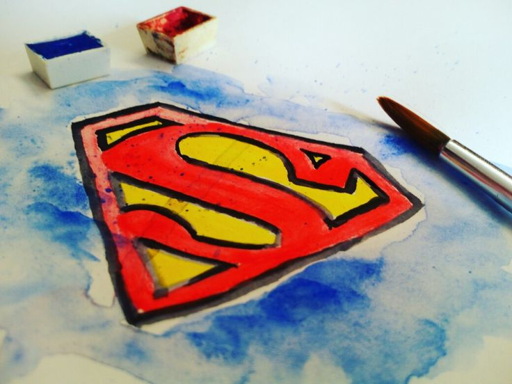 Logo Superman watercolor on paper