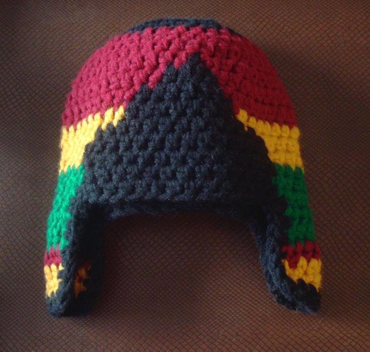 Red, Gold And Green.....African Colors Inspired Beanie Hat With Side Flaps.