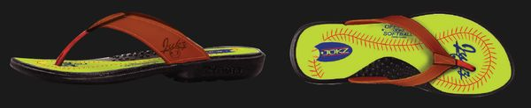 These are awesome flip flops. They're made from REAL SOFTBALL MATERIAL and provide comfort without too much weight built into the flop. Jukz Shoes.