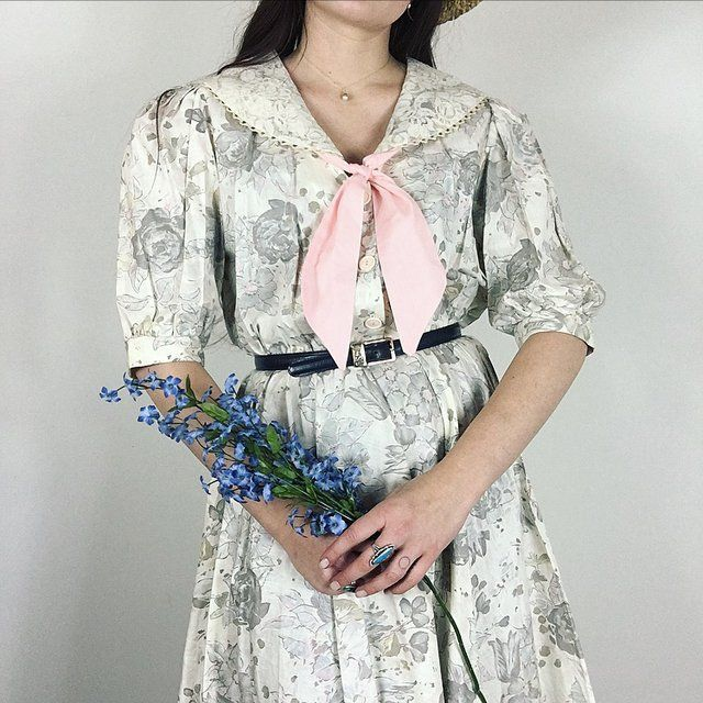 "VINTAGE 80's FRENCH GARDEN DRESS with lovely floral print & lace sailor collar! So in love with this classic look. Size M/L measuring a 40"" bust and 26-32"" waist. Seen on 5'7"" tall model. Made of cotton and comes with leather cinch belt! In perfect condition. #80s #pastel #midi #nautical #poof #sleeve - Depop"