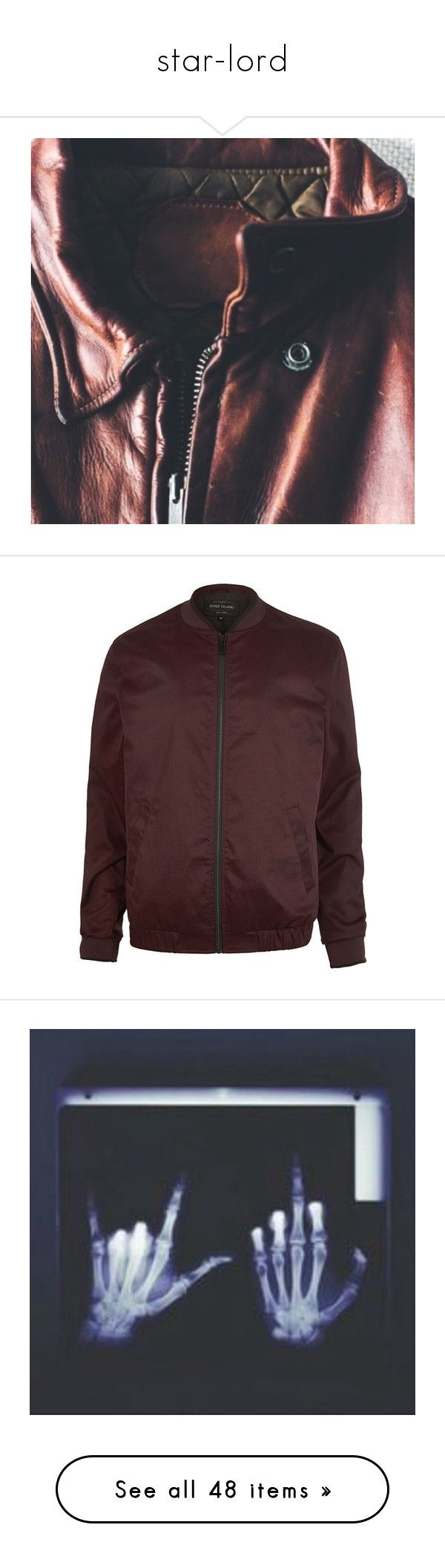 """""""star-lord"""" by daestars ❤ liked on Polyvore featuring men's fashion, men's clothing, men's outerwear, men's jackets, jackets, mens burgundy bomber jacket, mens burgundy jacket, pants, flat-front pants and zipper trousers"""
