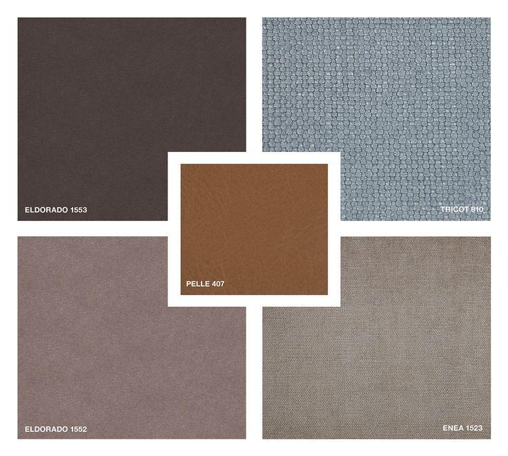 Leather : Pelle 407  Fabrics: Tricot 810 - Enea 1523 Velvet : Eldorado 1553 and 1552