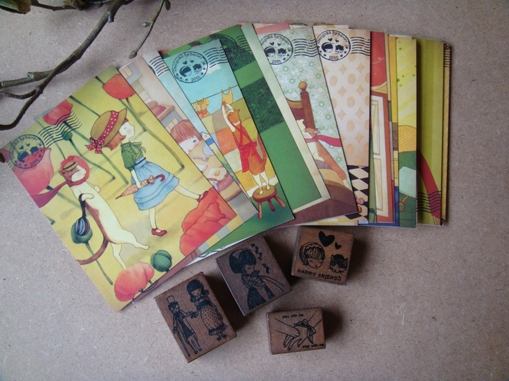 Postkaarten set met stempels - Postpapier enzo