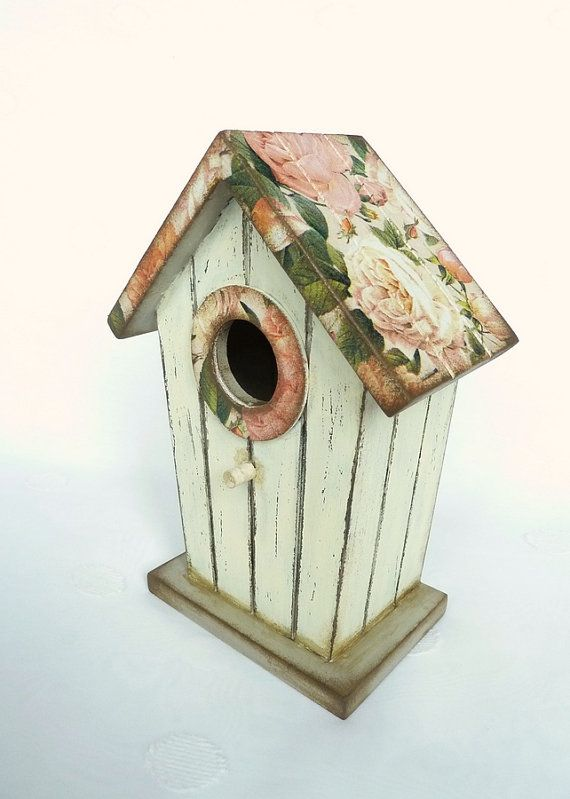Decorative Birdhouse, Beige Bird House with roses, Vintage Style, Rustic, Shabby Chic, Distressed, Bird Decor