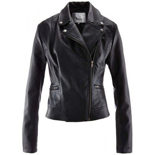 Jachete de primavara de dama: Jacheta imitație de piele neagra