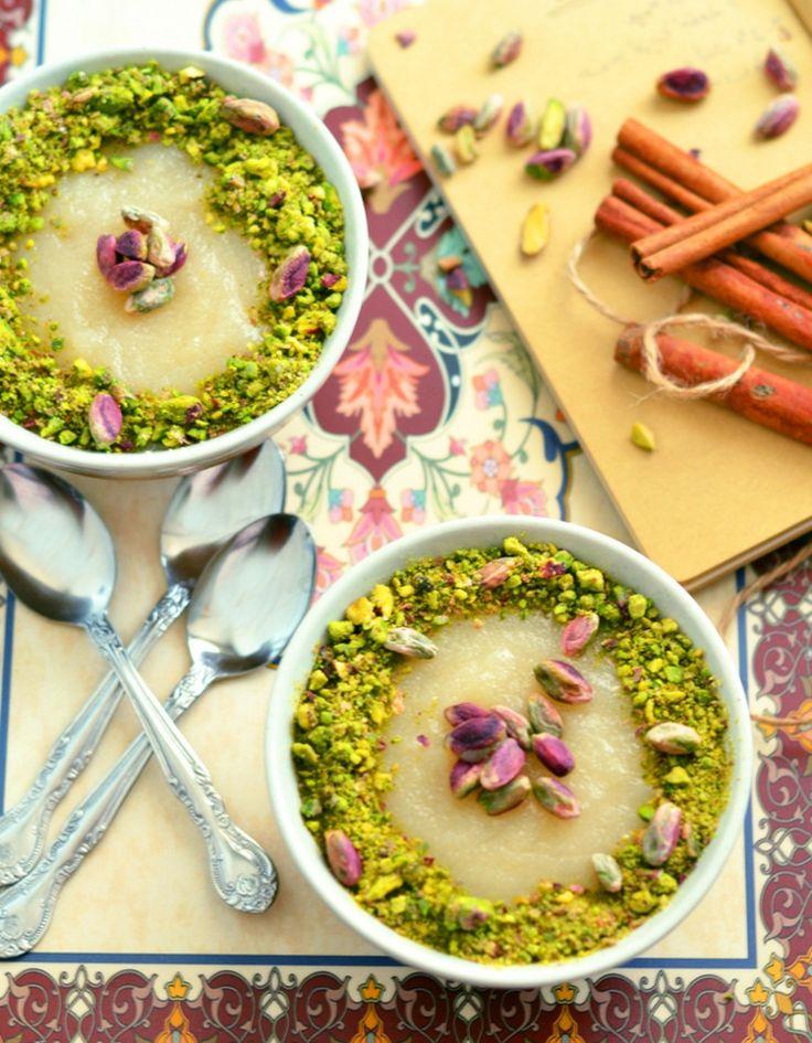 syrische süßspeisen grießpudding rosenwasser pistazien