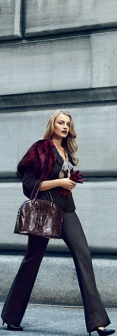 love it! Great burgundy faux fur with grey dress pants and a crocodile Birkin style bag! Burgundy is so in for fall/winter this year.