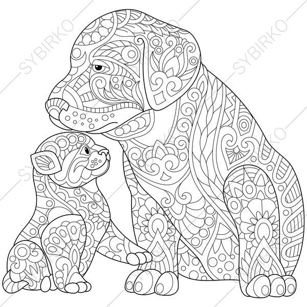 Coloring Page For Adults Digital Coloring Page Labrador Dog Etsy Dog Coloring Book Dog Coloring Page Mandala Coloring Pages
