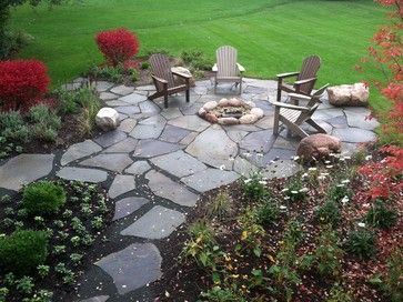 Superior Barrington Backyard Flagstone Fire Pit Patio   Traditional   Patio    Chicago   Doering Landscape