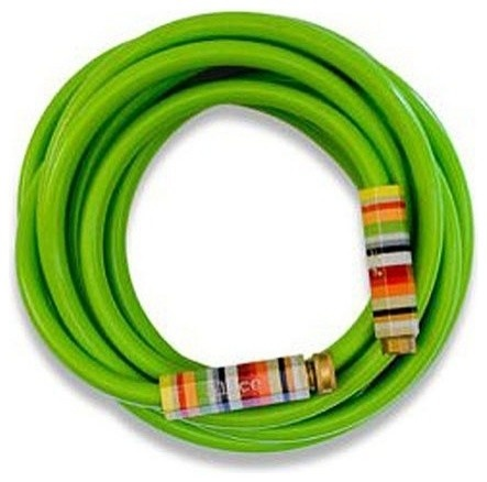 Lime Green Garden Hose with Striped Handles eclectic irrigation equipment
