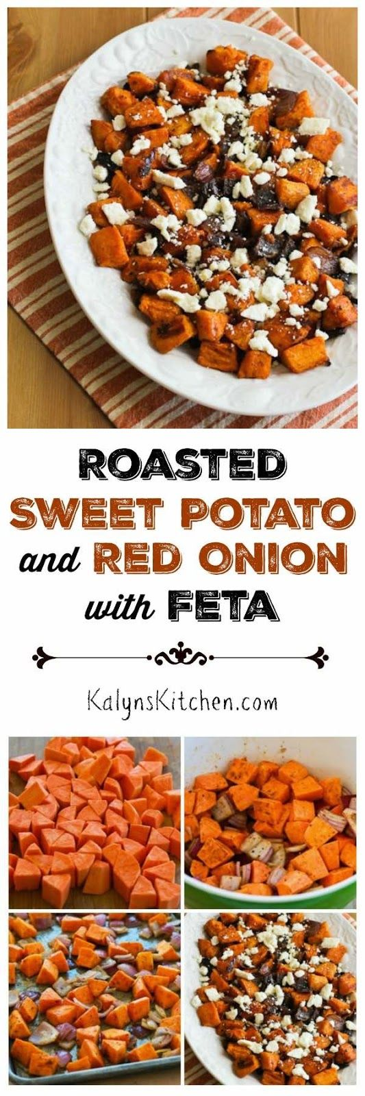 Roasted Sweet Potatoes and Red Onions with Feta are delicious for a holiday side dish, but I'd make this  for a delicious Meatless Monday dinner all winter long. There's a special spice mix that makes the sweet potatoes extra good.  [found on KalynsKitchen.com]
