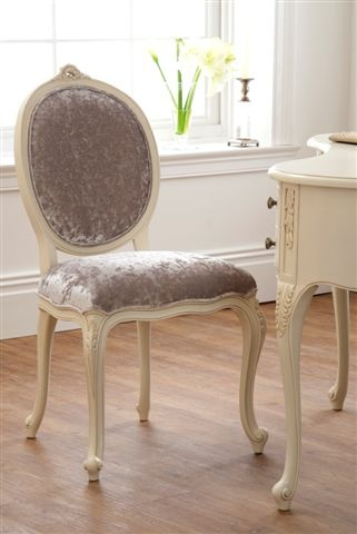 The Boudoir Collection oval back painted chair oozes romance with its soft curves, subtle carved details and delicate design.