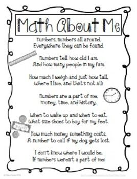 MATH ABOUT ME {FREEBIE} - TeachersPayTeachers.com