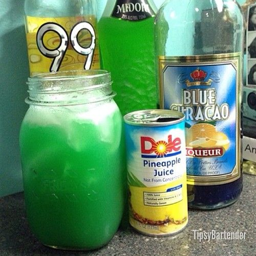 TROPICAL PUNCH 1 1/2 oz. (45ml) Midori 1/2 oz. (15ml) Blue Curacao 1 oz. (30ml) 99 Bananas Top with Pineapple Juice