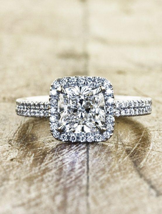 Cushion cut diamond halo wedding set, repinned by favorite follower Amanda Wright