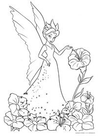 Королева фей Клэрион - скачать и распечатать раскраску. Раскраска Раскраска фея из мультфильма Феи, coloring pages Tinker Bell, цветы, крылья