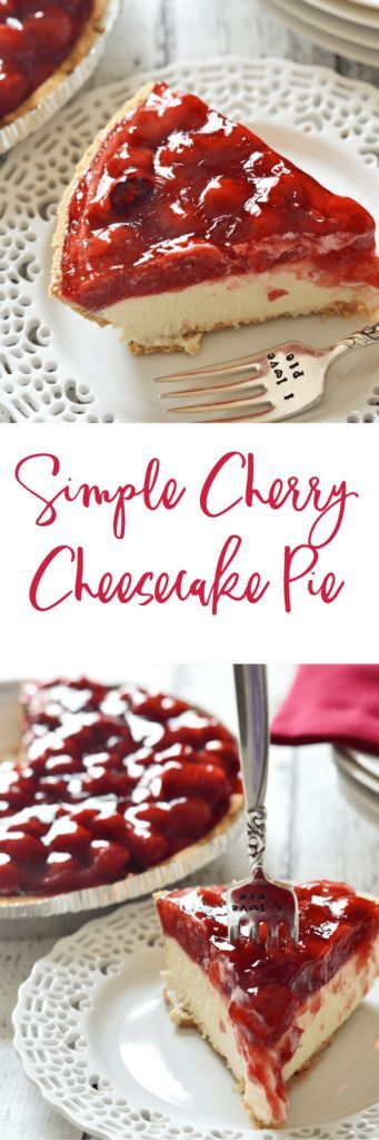 Graham cracker crust.  Cool, creamy, lemony cheesecake filling.  Sweet cherry topping.  Whip up this simple cherry cheesecake pie in next to no time and with just as little effort.  Your friends and family will thank you – if you choose to share, that is.  | homemade pie recipe | how to make cherry pie | homemade dessert recipes || Kitchen Meets Girl