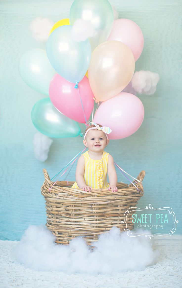hot air balloon, 1st birthday, sweet pea photography, child photography, clouds, rainbow