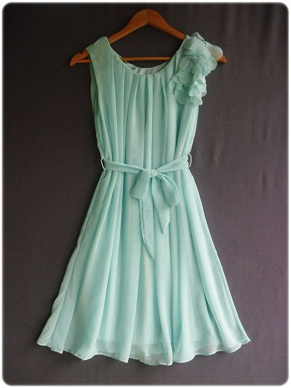 One Shoulder Ruffle Mint Dress