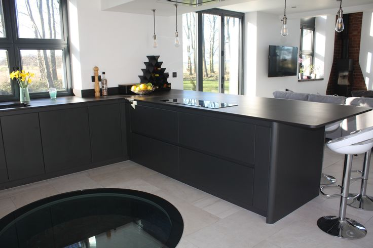 The Water Tower featured on George Clarke's Amazing Spaces program, Kitchen designed and installed by ourselves, Arlington Interiors - Leeds.  Anthracite Handle-less kitchen, with 12mm Dekton worktops.