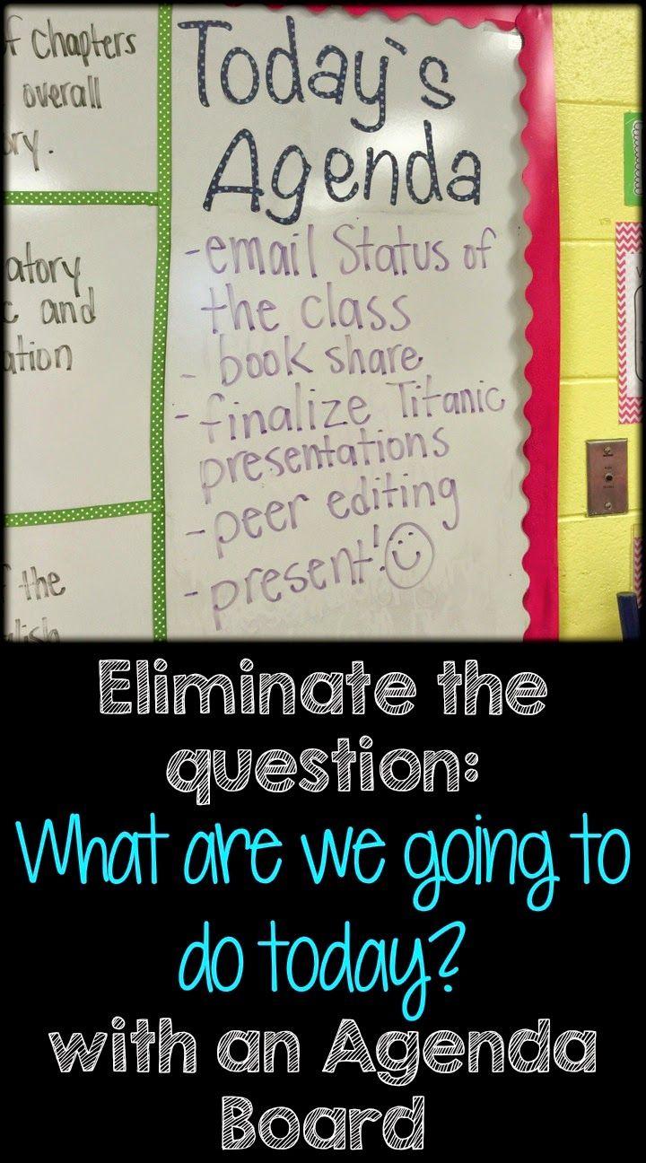 Life in Fifth Grade: Keeping Students on Task- Agenda Board