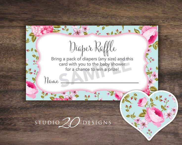 Instant Download Shabby Chic Baby Shower Diaper Raffle, Blue Pink Victorian Raffle Cards, Floral Baby Shower Diaper Raffle #89A by Studio20Designs on Etsy https://www.etsy.com/listing/474615234/instant-download-shabby-chic-baby-shower
