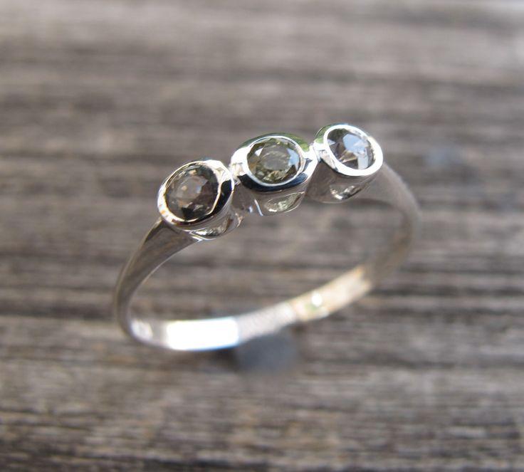 Green Sapphire Rings- Promise Rings-Three Stone Rings-Anniversary Rings-September Birthstone Rings-Light Green Sapphire Rings-Sapphire Ring by Belesas on Etsy https://www.etsy.com/listing/172513535/green-sapphire-rings-promise-rings-three