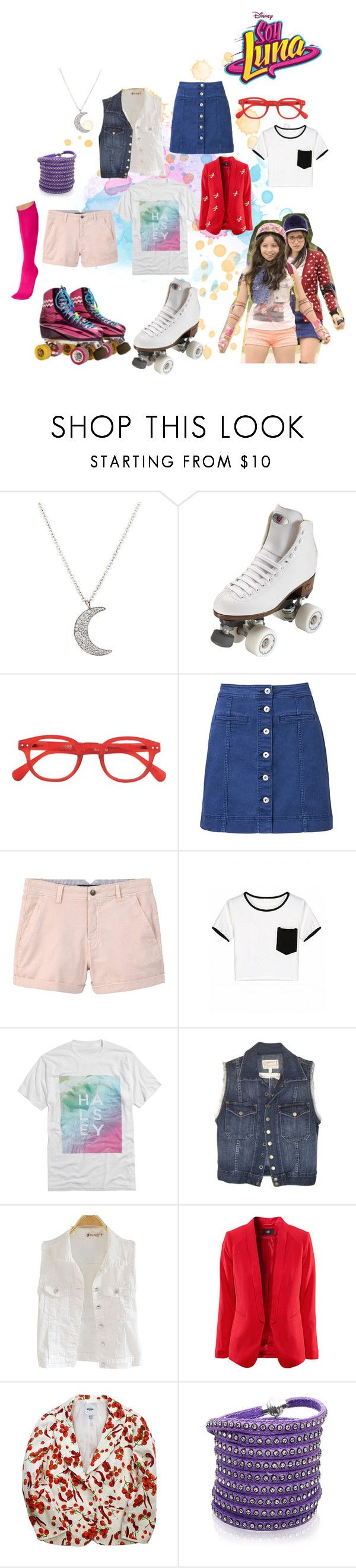 """soy luna"" by maria-look on Polyvore featuring Finn, Riedell, Witchery, MANGO, Current/Elliott, Moschino, Sif Jakobs Jewellery and Pretty Polly"
