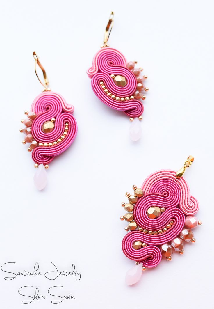 Shades of Pink / Gold Handmade Soutache pendant and earrings