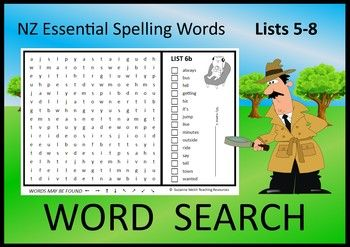 Sixteen Word Searches for Lists 5-8 of the NZ Essential Spelling Words.Included:   16 word searches in lower case letters.  16 word searches in capital letters.  16 answer sheets.   Blank template  for your students to create their own word search.Features:   15 words per word search.