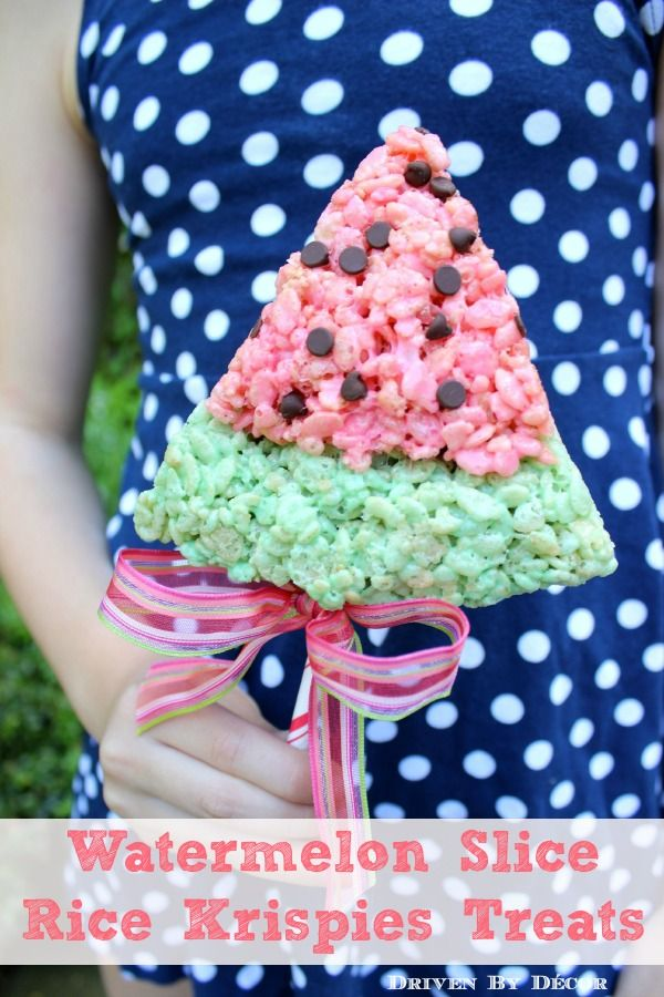 Driven By Décor: Watermelon Slice Rice Krispies Treats. Maybe make for end of school year treats for class/teachers