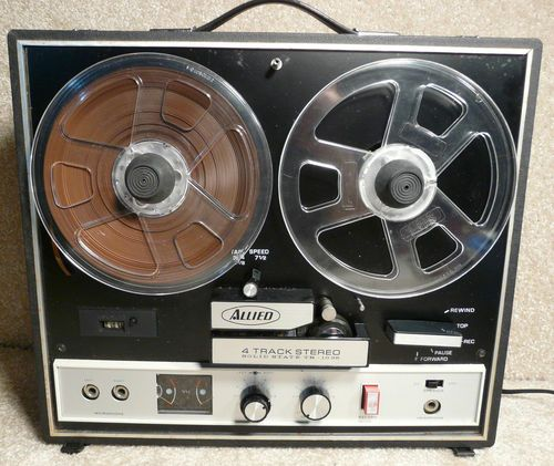 I love old tape recorders, like this Allied 2 Speed 4 Track Portable Reel to Reel Solid State Tape Recorder TR-1035