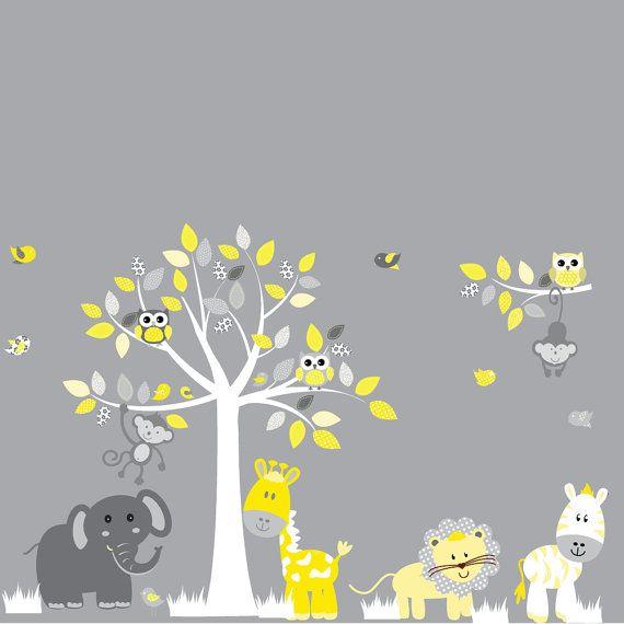 Animaux girafe de pépinière vinyle Wall Decal autocollant jaune Jungle, éléphant, tigre, zèbre, singe, hiboux et oiseaux