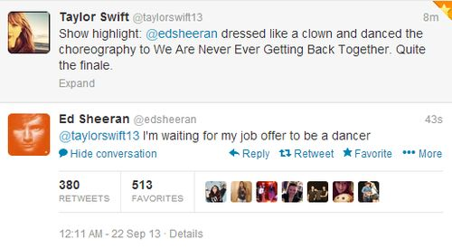 Taylor and Ed tweeting about him crashing her concert :P