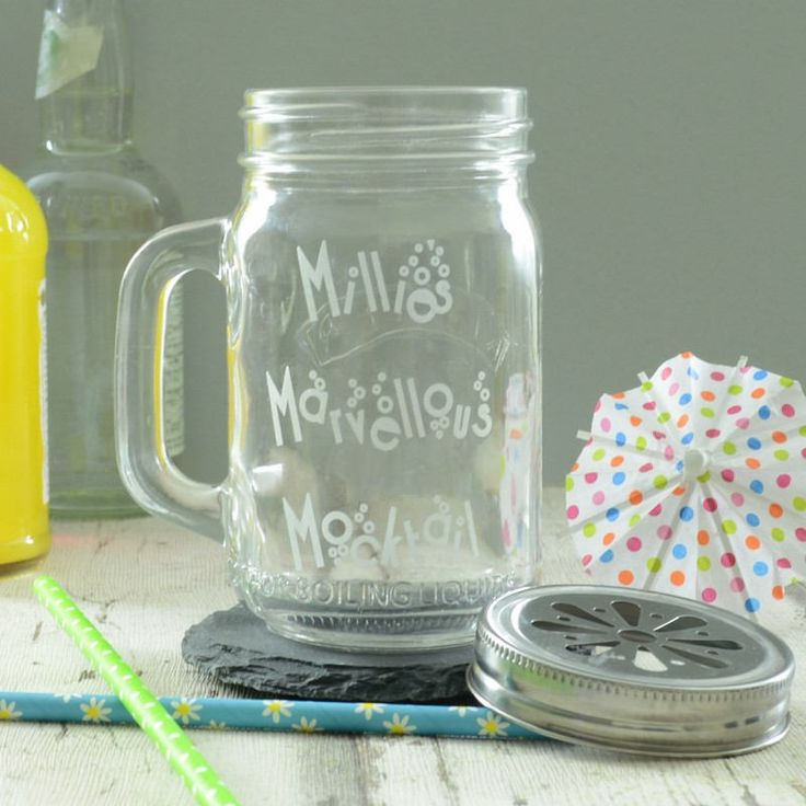 Get the party started with our funtastic Personalised Mocktail Fruity Drinking Jar.  We think that this quirky mason-style drinking jar is utterly perfect for any occasion, from birthdays and Christmas to 'thank yous' and 'get well soons'. So whether you are searching for a great gift for your partner's birthday, a stocking filler, or perhaps even a pick-me-up present for a close friend, this glass jar is certain to lift anyone's spirits!  Brilliantly decorative and highly usable in day to…