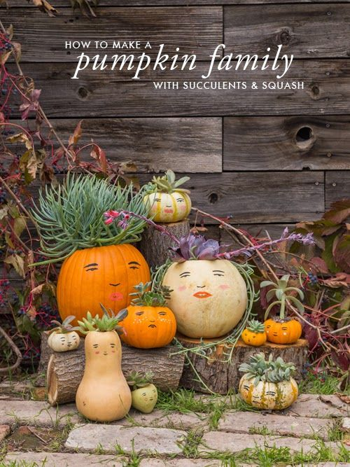 Make a pumpkin family with this free template and succulents