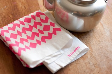 Linen Tea Towel Neon Pink Geometric By Ktaadn contemporary dishtowels